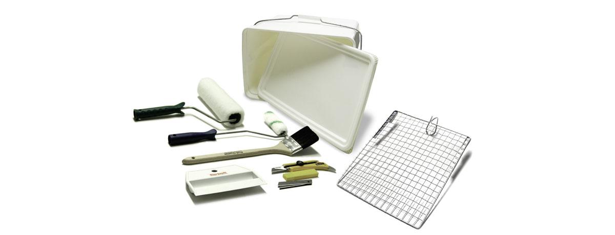 Werkzeugset werkzeuge zum tapezieren surtech gmbh for Glasfasertapete streichen